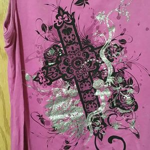 Pink Tank top with cross & glitter design - Large